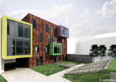 Centrum Młodzieżowe | Elewacja północna | H+ Architektura