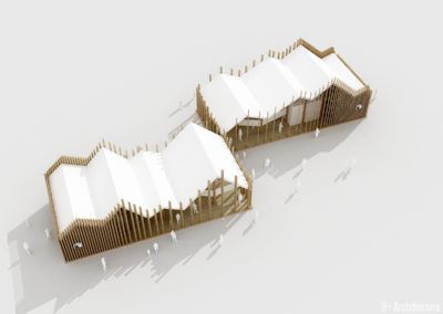 Pawilon wystawowy | Widok z góry | H+ Architektura