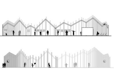 Pawilon wystawowy | Przekrój | H+ Architektura