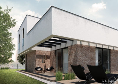 Dom podmiejski   Taras   H+ Architektura